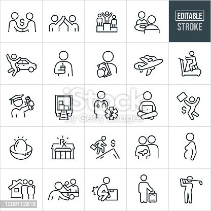 A set of compensation and benefits icons that include editable strokes or outlines using the EPS vector file. The icons include person making money, person getting a pay raise, recognition, business person on top of winners podium, company meals, worker getting business car, person with coffee, person holding money, air transportation, exercise equipment, tuition reimbursement, moving services, health care, investment options, health benefits, maternity, housing, ping pong at work, injury benefits and other related icons.
