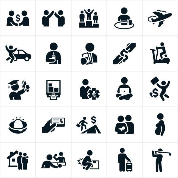Entschädigung, Vorteile und Vergünstigungen Icons – Vektorgrafik