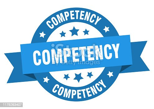 competency ribbon. competency round blue sign. competency