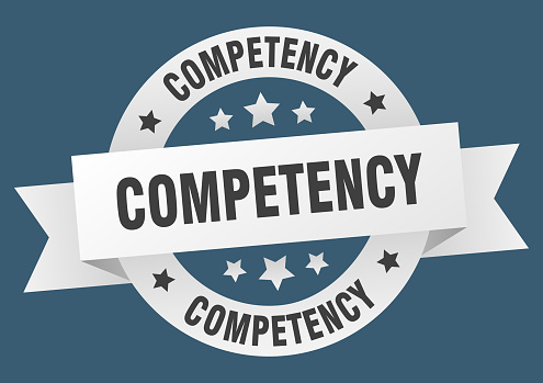 competency ribbon. competency round white sign. competency