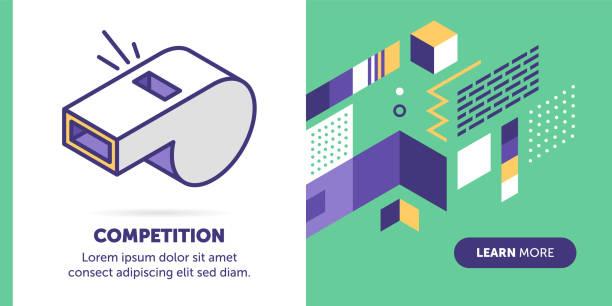 illustrazioni stock, clip art, cartoni animati e icone di tendenza di competition banner - fischietto