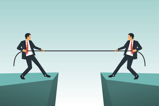 ilustraciones, imágenes clip art, dibujos animados e iconos de stock de concepto de competencia. gente de negocios. - lucha