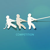 Business team playing tug-of-war competition concept.