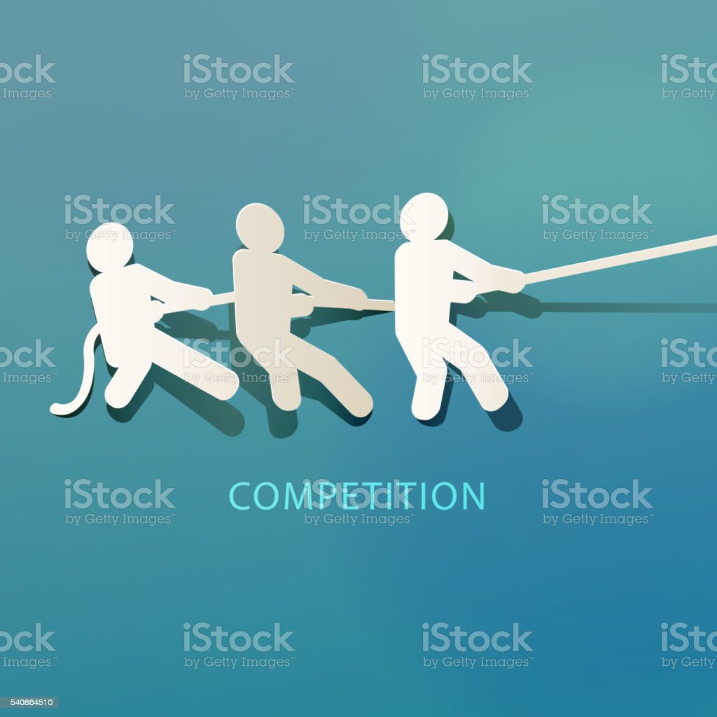 Competition Concept Paper Cut vector art illustration