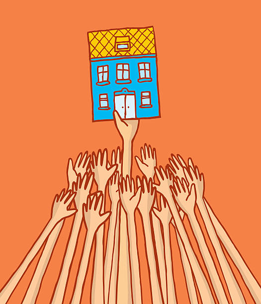 Competition for renting or buying a house on rent control vector art illustration