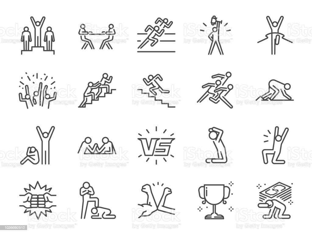 Conjunto de iconos de la competencia. Incluye iconos como versus, competidores, rivales de juego, competitivo y más. - ilustración de arte vectorial