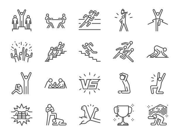 ilustrações de stock, clip art, desenhos animados e ícones de competition icon set. included icons as versus, competitors, game, competitive, rival and more. - comemoração conceito