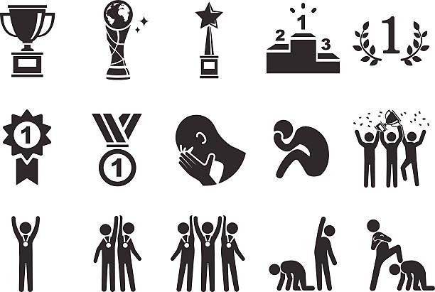 stockillustraties, clipart, cartoons en iconen met competition icons - illustration - samen sporten