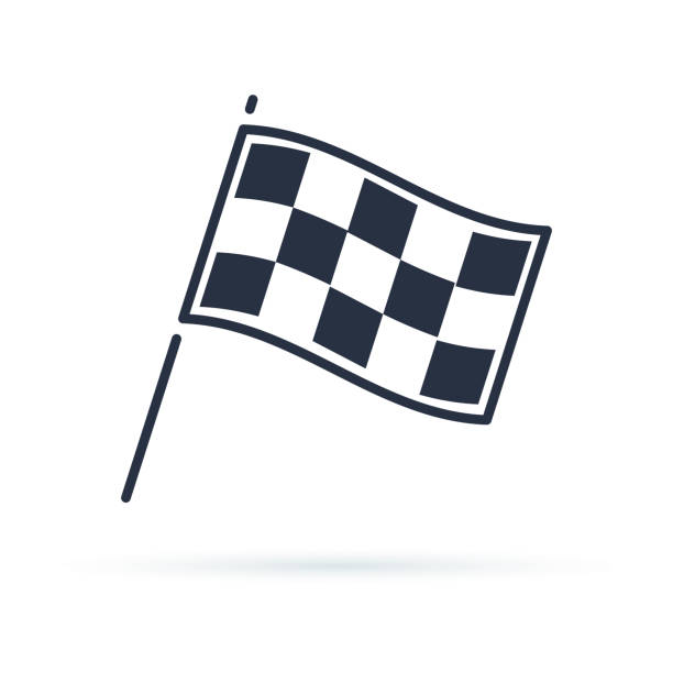 Competition sport flag line vector icon Competition sport flag line vector icon. Racing Finish symbol. Modern minimalistic sign finishing stock illustrations