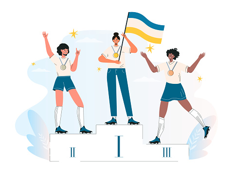 Competition winner, champion or leader, triumph. Ceremony of awarding medals. Three female athletes on the pedestal. Diverse women stand on podium first, second, third place. Flat vector illustration