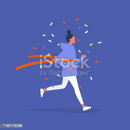 A competition winner, Young female running character crossing the finish line, Red ribbon concept