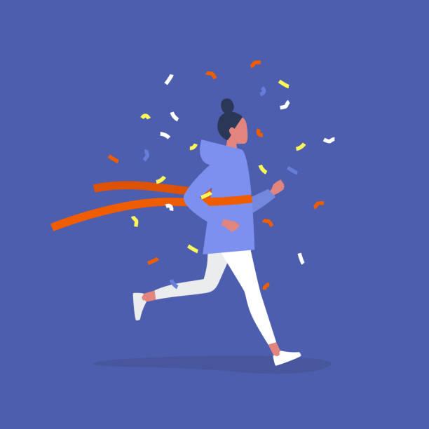 ilustrações de stock, clip art, desenhos animados e ícones de a competition winner, young female running character crossing the finish line, red ribbon concept - running