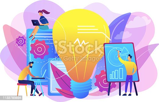 Business people analyzing and lightbulb. Competitive intelligence and environment, information and marketplace analysis concept on white background. Bright vibrant violet vector isolated illustration