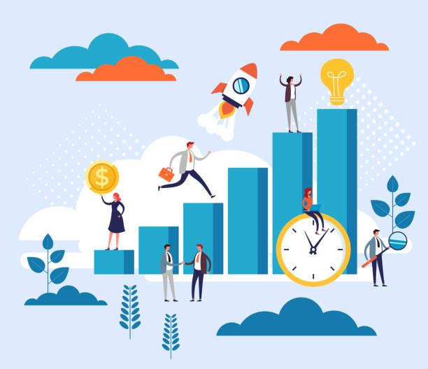 Competitive process teamwork concept. Vector flat cartoon graphic design illustration vector art illustration