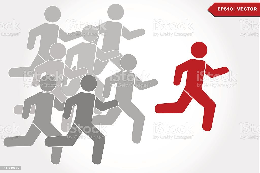 competitive with  business icon running vector art illustration