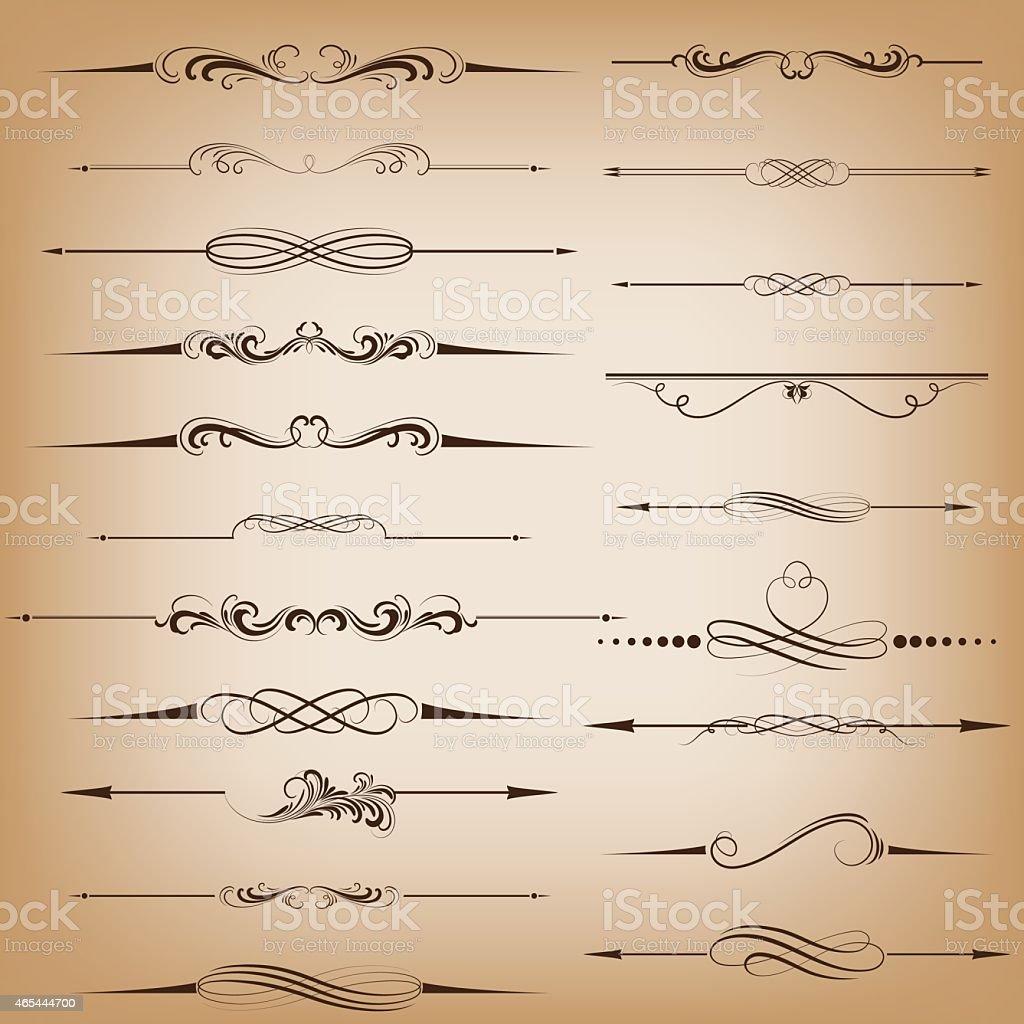 Compilation of black digital dividers  vector art illustration