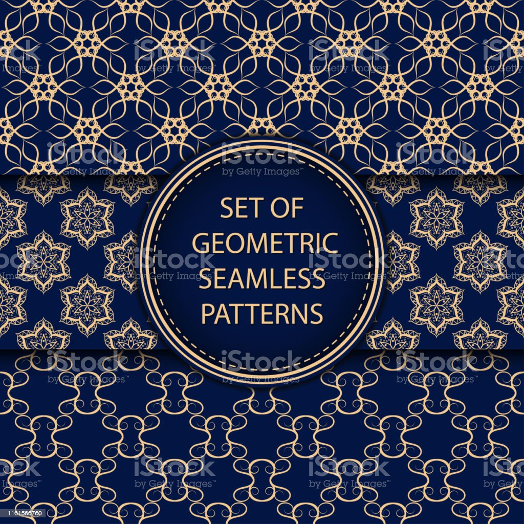 Compilation of seamless patterns. Oriental ethnic golden blue set of backgrounds - arte vettoriale royalty-free di Arabia