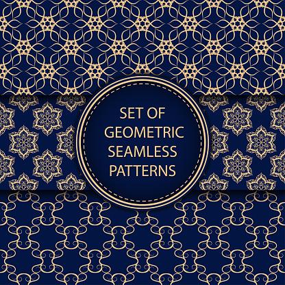 Compilation Of Seamless Patterns Oriental Ethnic Golden Blue Set Of Backgrounds - Immagini vettoriali stock e altre immagini di Arabia