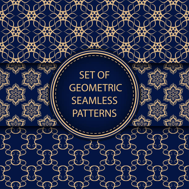 Bекторная иллюстрация Compilation of seamless patterns. Oriental ethnic golden blue set of backgrounds