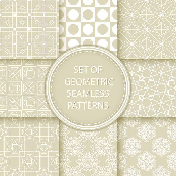 Bекторная иллюстрация Compilation of seamless patterns. White abstract and geometric prints on olive green background