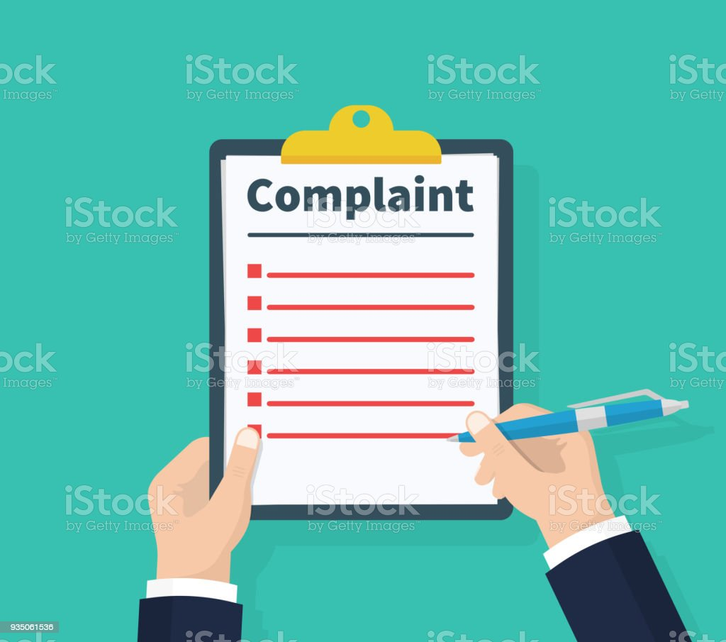 Complaint concept. Claim petition. Man hold clipboard in hand wrote a complaint. Flat design, vector illustration on green background. vector art illustration
