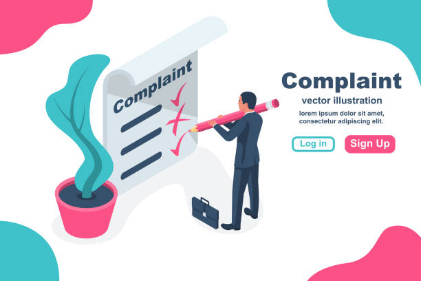 Complaint concept isometric concept. Man wrote a complaint Complaint concept isometric concept. Man wrote a complaint. Vector illustration 3d esign. Measures to solve problems. Claim petition. Sign the document on the application. declaration of independence stock illustrations