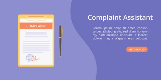 beschwerde-formular-assistenten auf zwischenablage webvorlage - rechtsassistent stock-grafiken, -clipart, -cartoons und -symbole