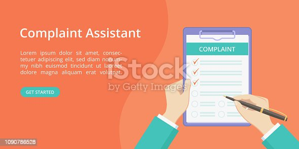 istock Complaint form on clipboard with hand landing page 1090786528