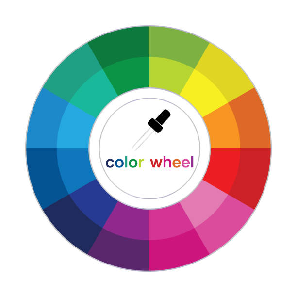 illustrazioni stock, clip art, cartoni animati e icone di tendenza di complementary colors are opposite each other. vector graphic illustration guide. - ruota dei colori
