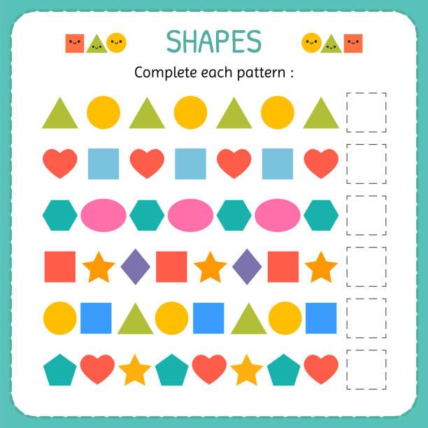 Completar cada patrón. Aprender las formas y figuras geométricas. Hoja de trabajo de preescolar o jardín de la infancia - ilustración de arte vectorial