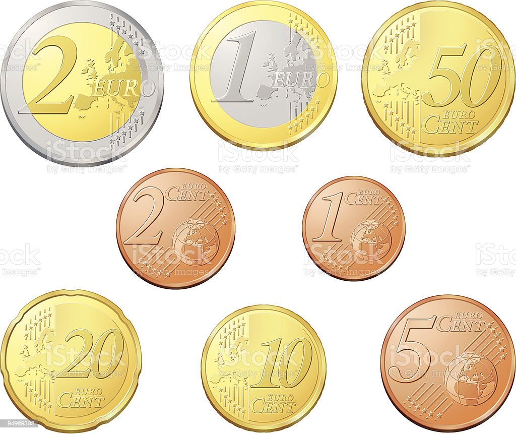 Complete euro coins vector art illustration