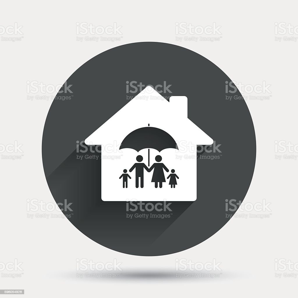 Complete family home insurance icon. royalty-free complete family home insurance icon stock vector art & more images of badge