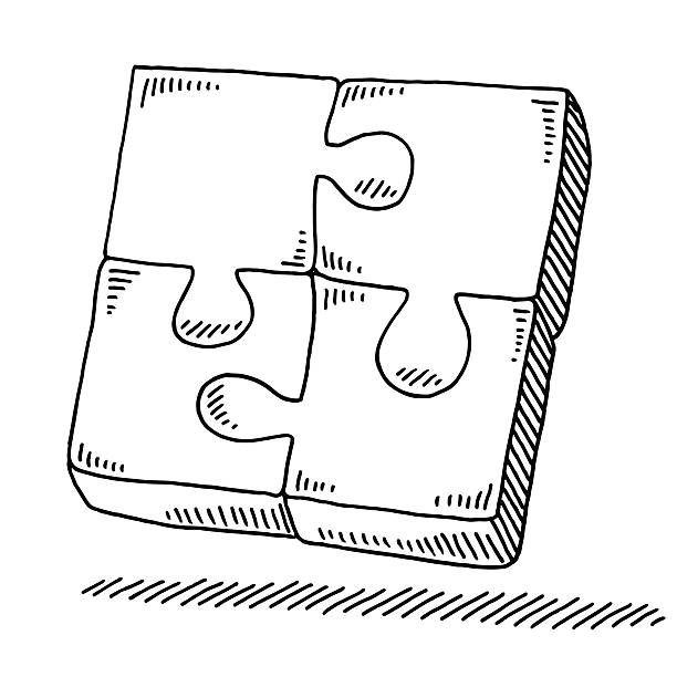 Complete Four Pieces Puzzle Drawing Hand-drawn vector drawing of a Complete Four Pieces Puzzle. Black-and-White sketch on a transparent background (.eps-file). Included files are EPS (v10) and Hi-Res JPG. game stock illustrations