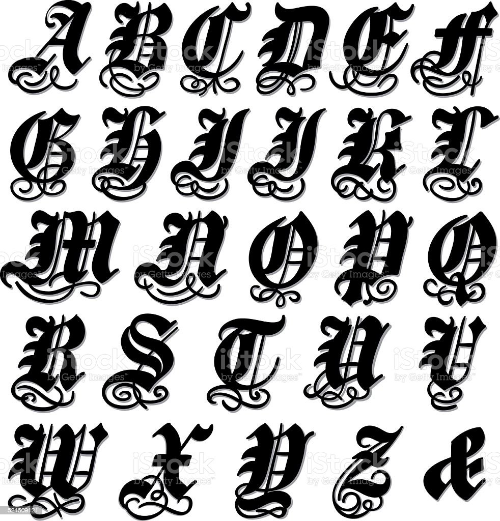 how to draw gothic letters