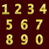 istock A complete set of gold  3D numbers with a grid relief. The edges of the numbers are not rounded. Font is isolated by a dark red background.  Vector illustration. 862646520