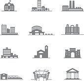 complete set of vector icons city buildings