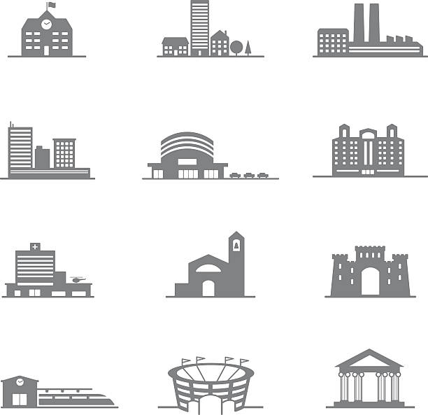 bildbanksillustrationer, clip art samt tecknat material och ikoner med complete set of vector icons city buildings - stadshus