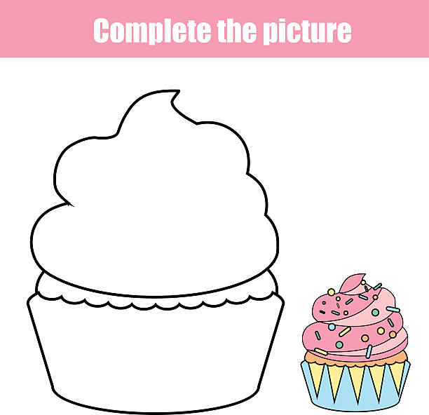complete the picture children educational drawing game. coloring page - schulbedarfskuchen stock-grafiken, -clipart, -cartoons und -symbole