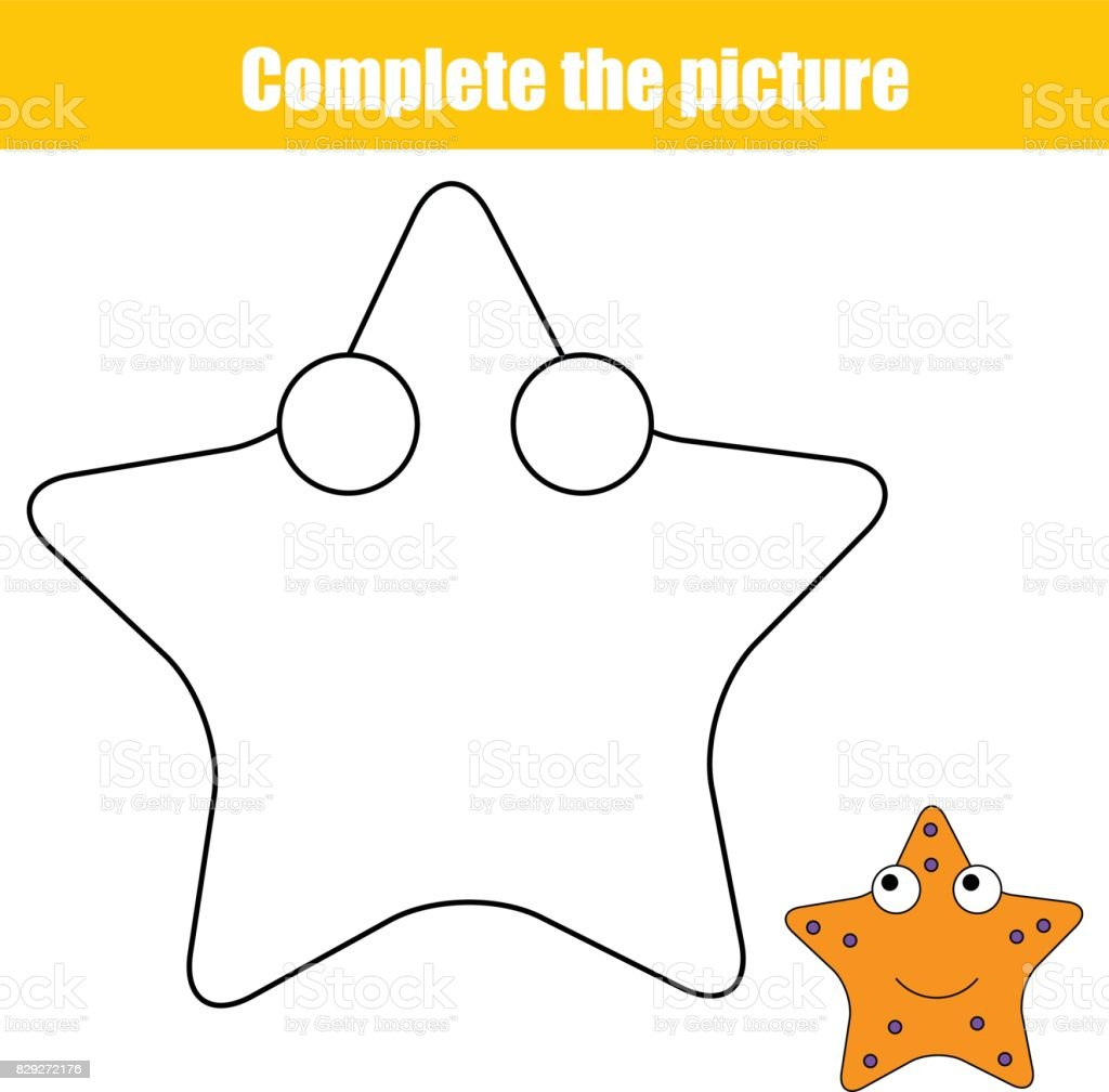 Sayfa Boyama Resim çocuk Eğitim Oyunu Tamamlamak Deniz Yıldızı Ile