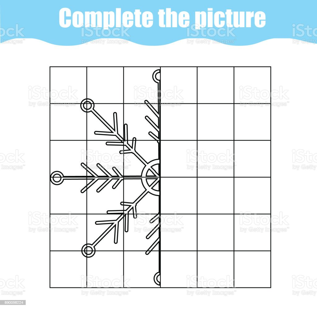 complete the picture children educational game coloring page kids activity sheet with snowflake - Children Drawing Sheets