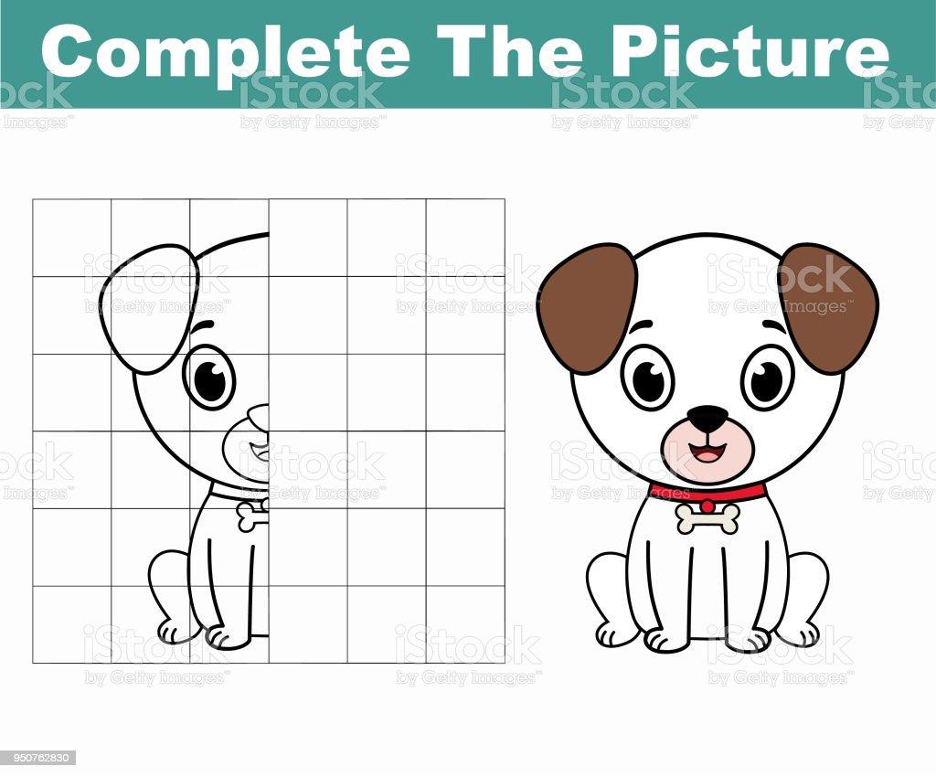 şirin Bir Köpek Resmi Tamamlamak Resmi Kopyalayın Boyama Kitabı