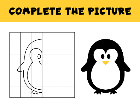 Complete the picture of a cute penguin. Educational game for children.