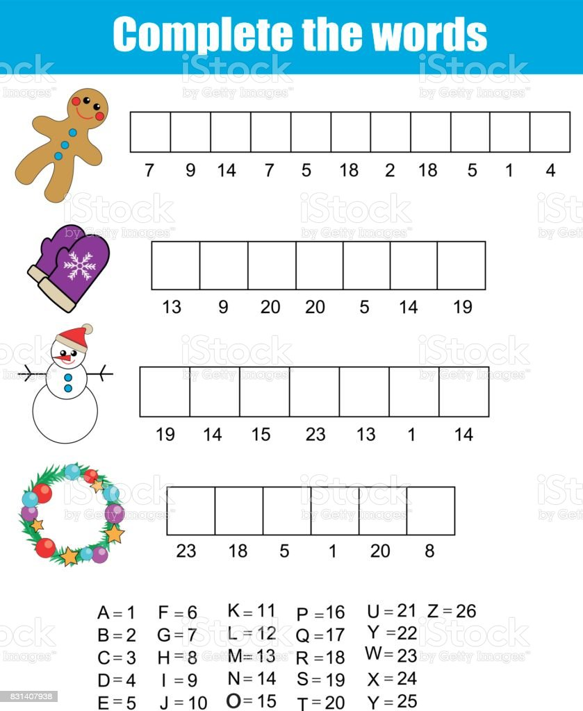 Vervollständigen Sie Die Wörter Kinder Lernspiel Weihnachten ...