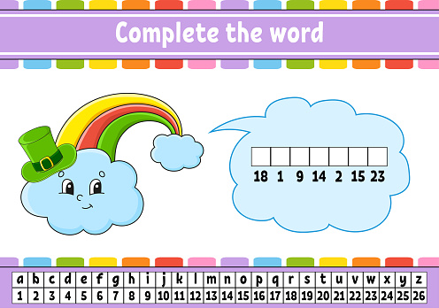 Complete the words. Rainbow in hat. Cipher code. Learning vocabulary and numbers. Education worksheet. Activity page for study English. Isolated vector illustration. Cartoon character.