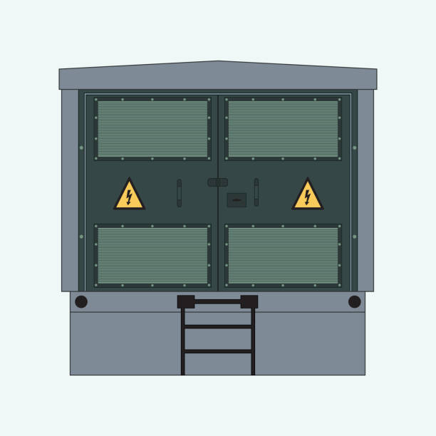 Complete Transformer Substation Picture of the electrical panel, electric meter and circuit breakers, high-voltage transformer transformer stock illustrations