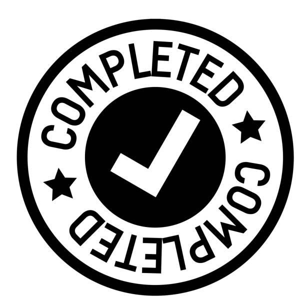 completed stamp on white completed stamp on white background. Sign, label, sticker. finishing stock illustrations