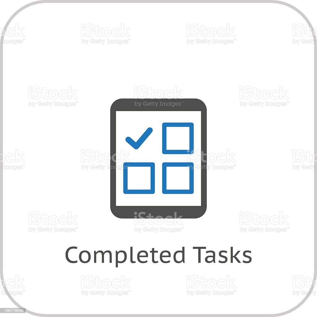 Completed Tasks Icon. Business Concept. Flat Design. vector art illustration