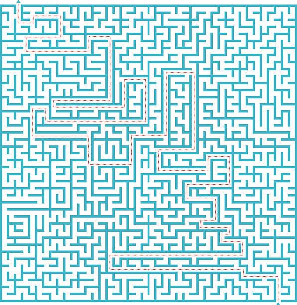 blau mit lösung-labyrinth komplex - labyrinthgarten stock-grafiken, -clipart, -cartoons und -symbole