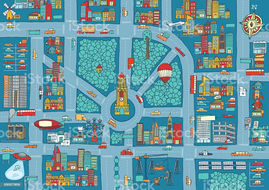 Complex busy city map vector art illustration