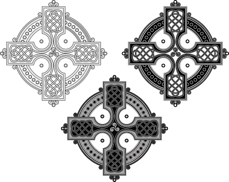 Complex Celtic cross ornament (Knotted cross variation n° 4)